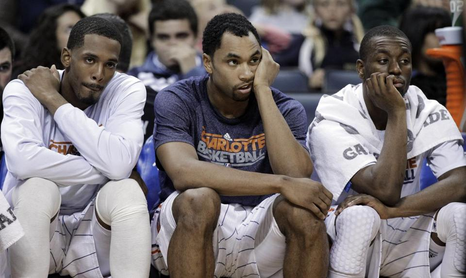 Derrick Brown, Gerald Henderson and Kemba Walker, left to right, are looking to avoid a 23rd straight loss on Thursday.