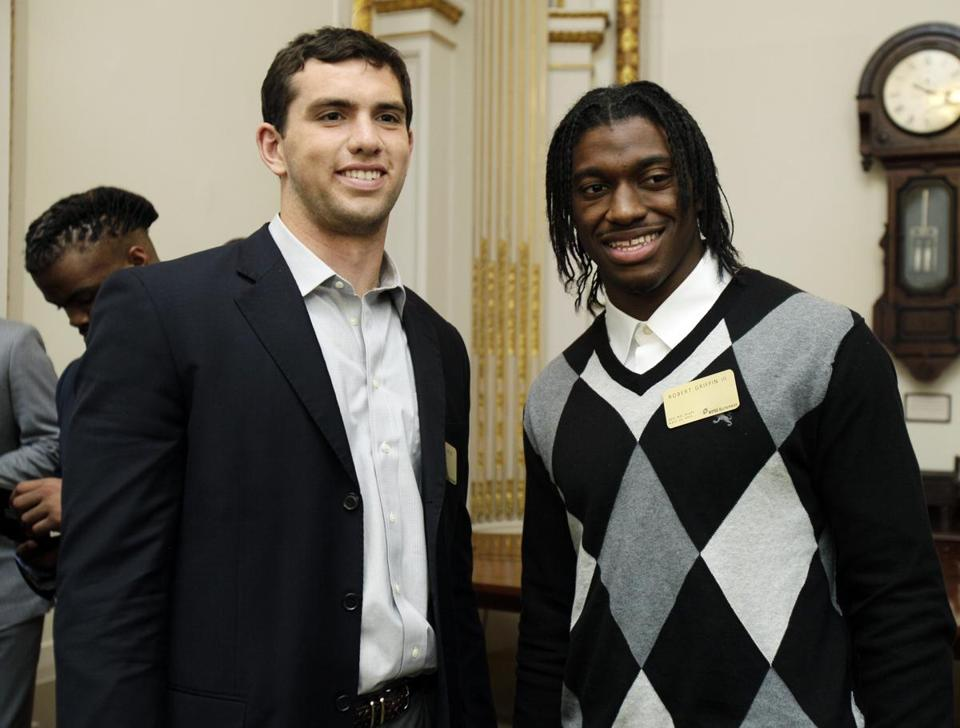 Andrew Luck, left, and Robert Griffin III, are expected to be the first two picks of the draft.