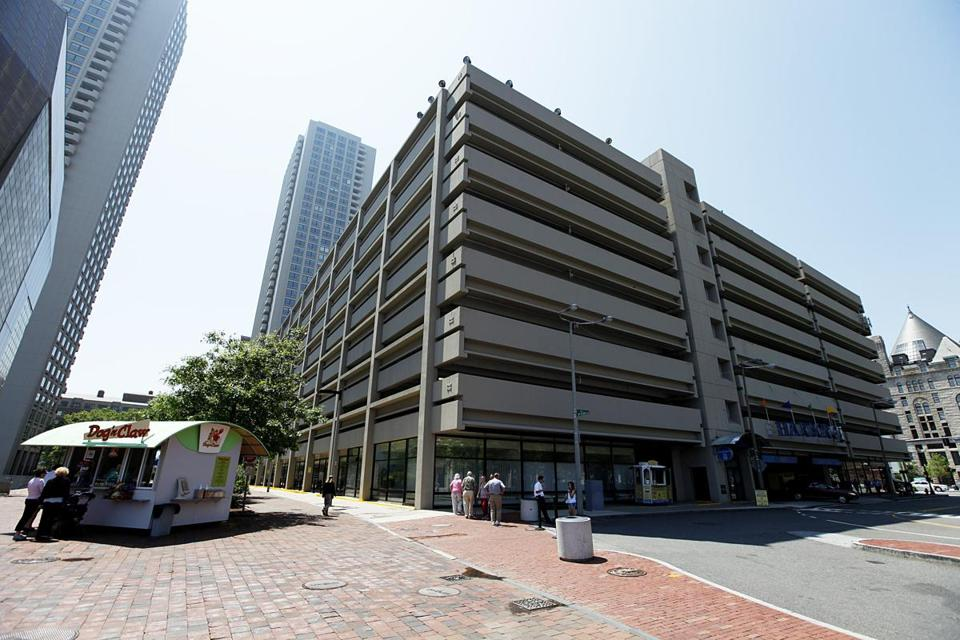 The parking garage in front of the New England Aquarium as seen from the Greenway in this June 2, 2010 file photo.