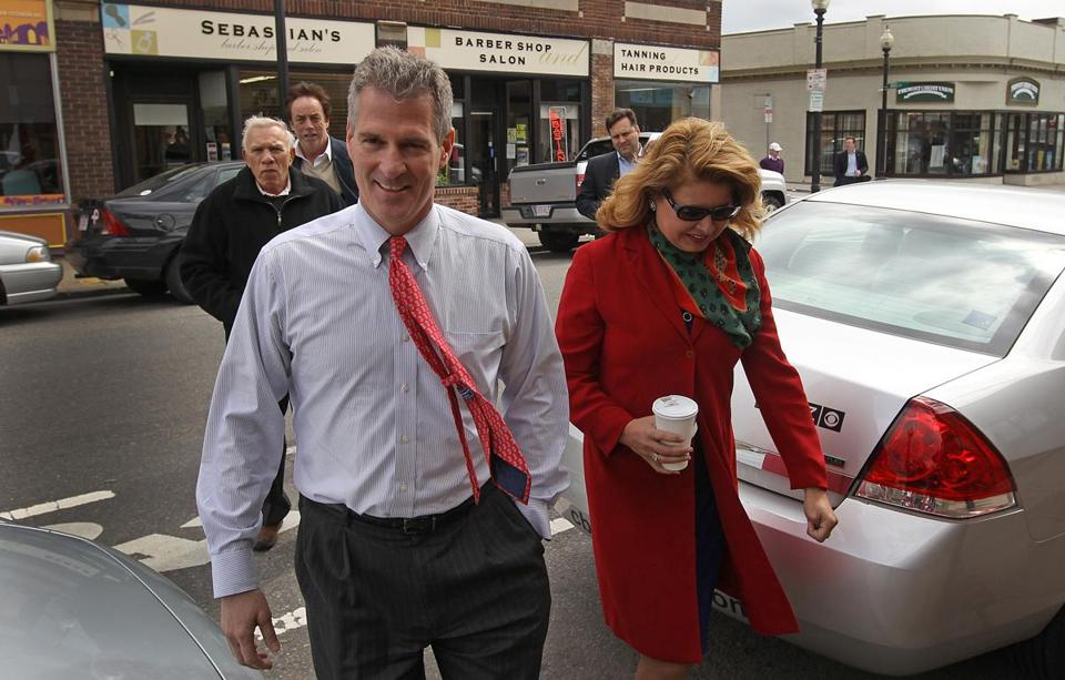 Senator Scott Brown and his wife, Gail Huff, toured businesses in Roslindale Village today.