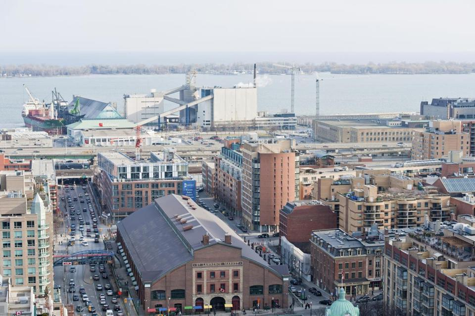 A view of Toronto's waterfront, including the St. Lawrence Market building (foreground).