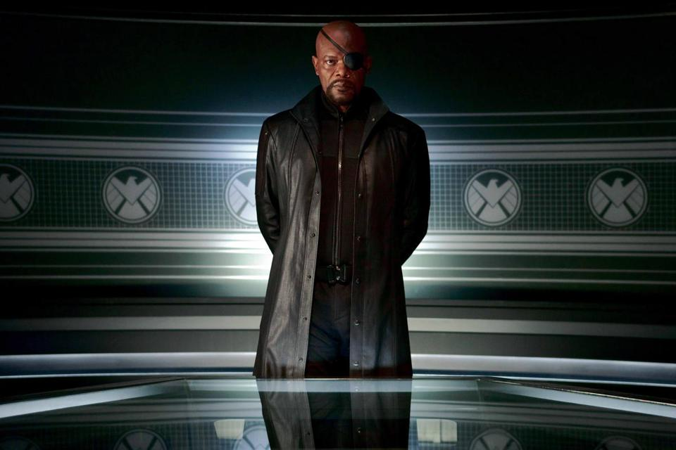 "Samuel L. Jackson is the director of the international peacekeeping organization known as S.H.I.E.L.D in Marvel's ""The Avengers."""