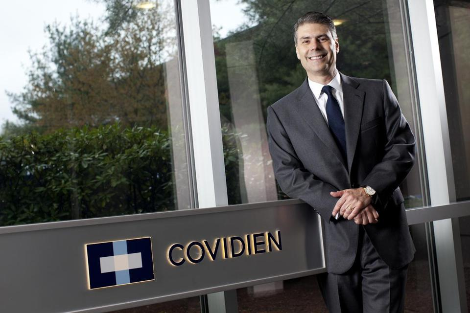 Covidien chief executive officer Jose E. Almeida would receive a severance payout of $37.3 million if he leaves Covidien when the buyout is complete.