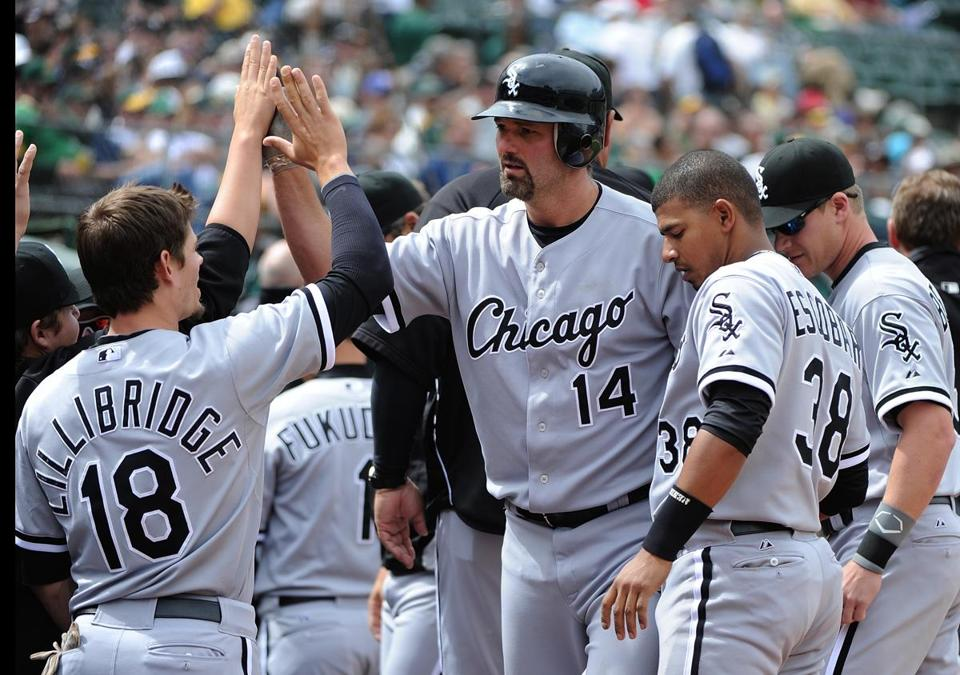 Paul Konerko (14) hit his 400th career home run against the Oakland Athletics on April 25.