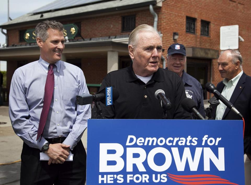Former Boston mayor Ray Flynn (center), a Democrat, endorsed Republican Senator Scott Brown. Flynn has appeared in campaign ads for Brown.
