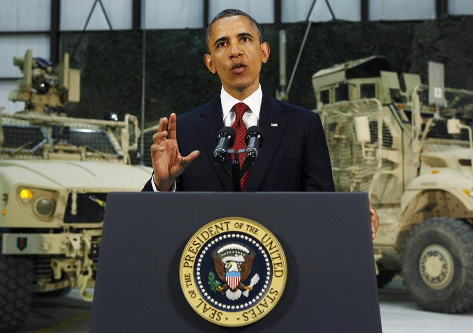 President Obama spoke from Bagram Air Base near Kabul.