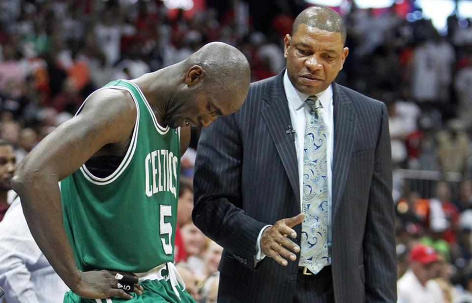 The Celtics Kevin Garnett listened to head coach Doc Rivers just after Rajon Rondo was ejected from the team's game one loss in Atlanta.