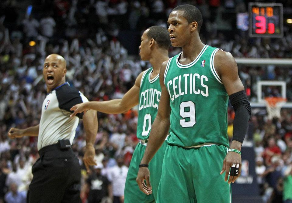 Rajon Rondo (9) was ejected for bumping referee Marc Davis (left). It could have a huge impact on the series.