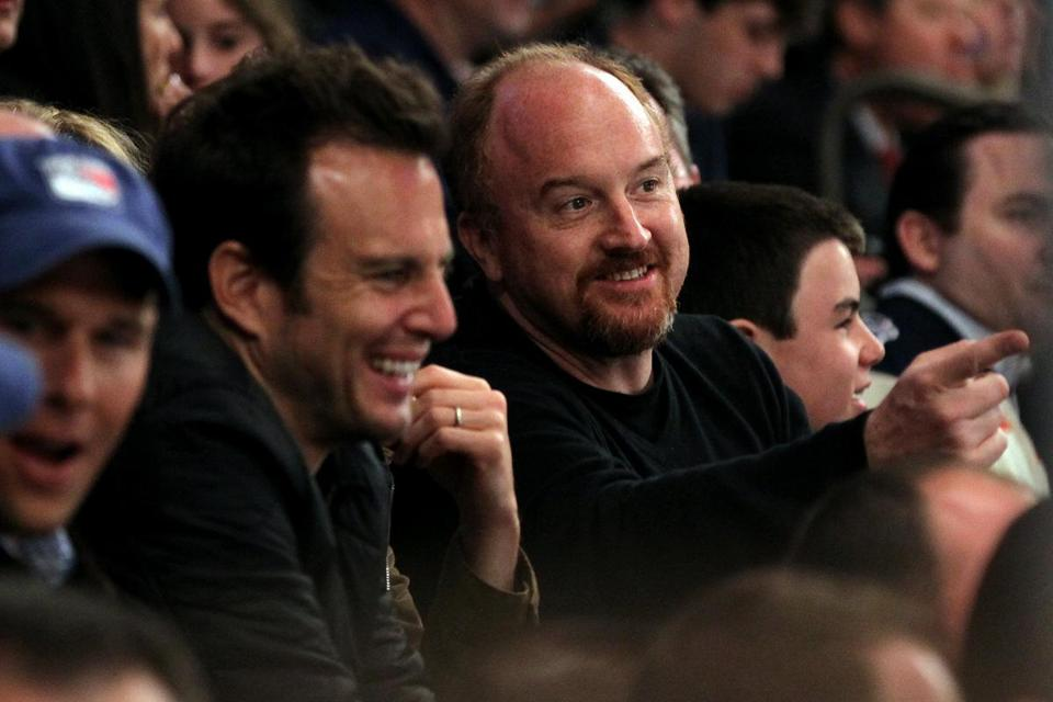 Will Arnett (left) and Louis C.K. at Rangers-Capitals game in New York.