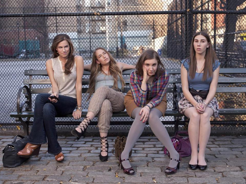 "Lena Dunham of ""Girls,"" second from right, is among TV critic Matthew Gilbert's favorites for Emmy nominations for comedy actress."