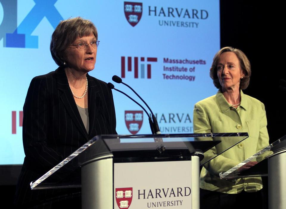 Harvard President Drew Faust (left) and MIT President Susan Hockfield announced a new partnership in online education at the Hyatt Hotel in Cambridge.