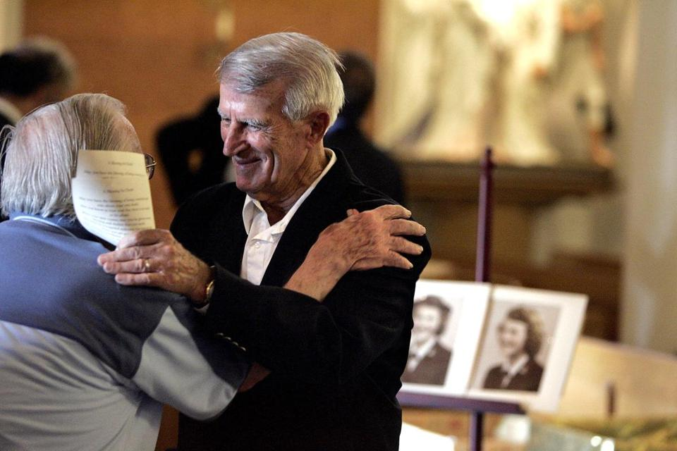 Johnny Pesky greeted attendees at a memorial service for his wife, Ruth.