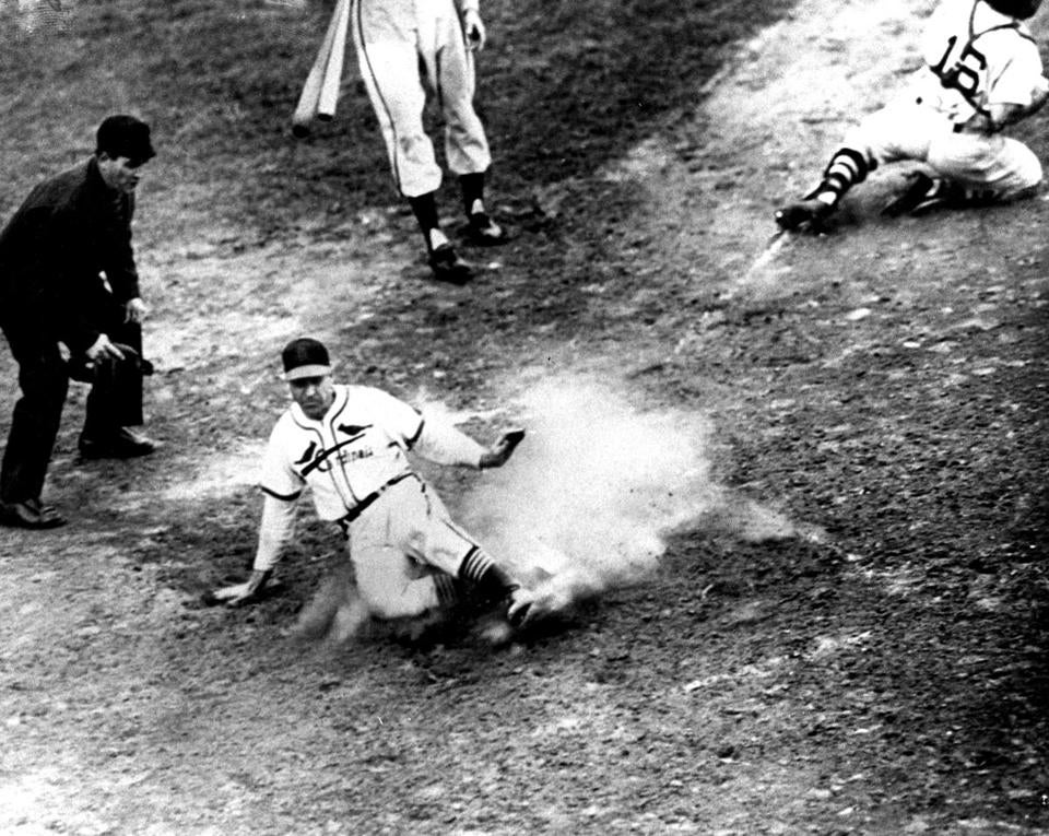 Enos Slaughter scored the Cardinals' game-winning run in the bottom of the eighth.