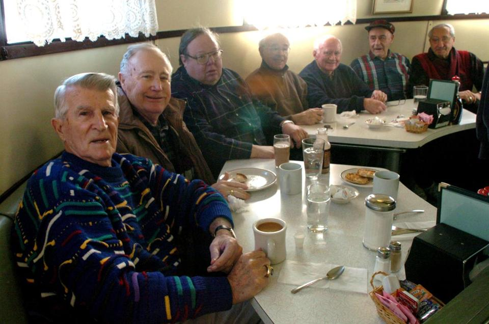 Johnny Pesky and the breakfast gang: left to right, Bob Grant, Earl Weissman, Joe Sanchez, Buzz Martin, Ben Harsip and Sal Bellino at the Salem Diner.