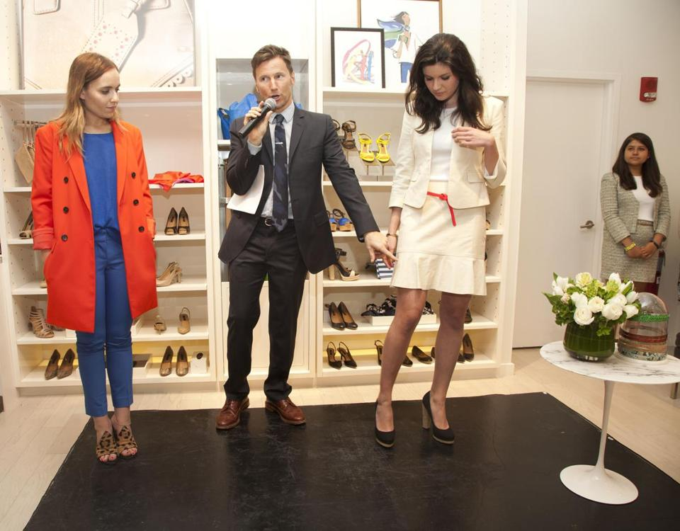 Andrew Taylor with College Fashionista founder Amy Levin (left) and style blogger Shayna Straus at a clinic.