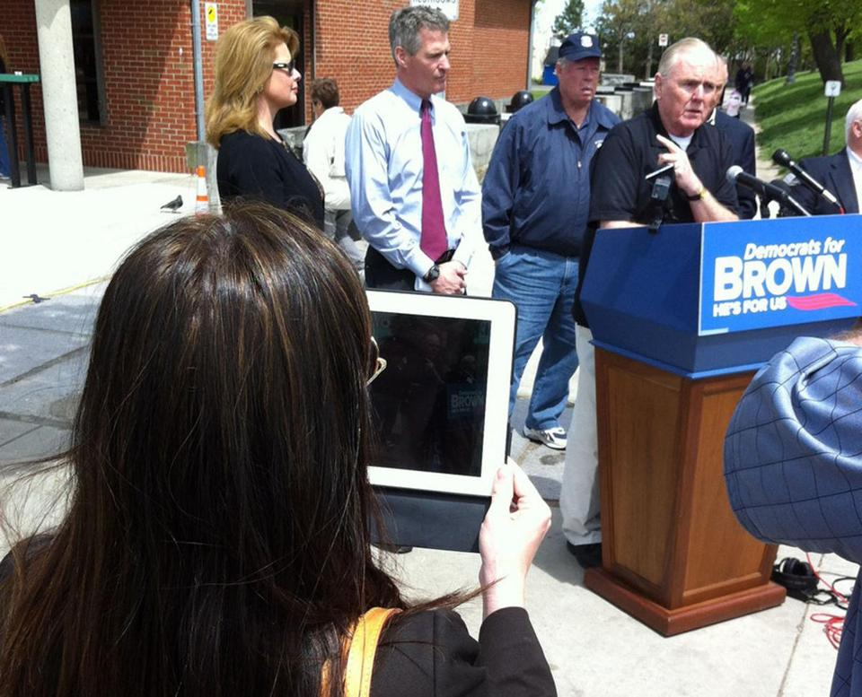 Marcie Kinzel, communications director for Senator Scott Brown, shot video of Ray Flynn endorsing candidate Brown.