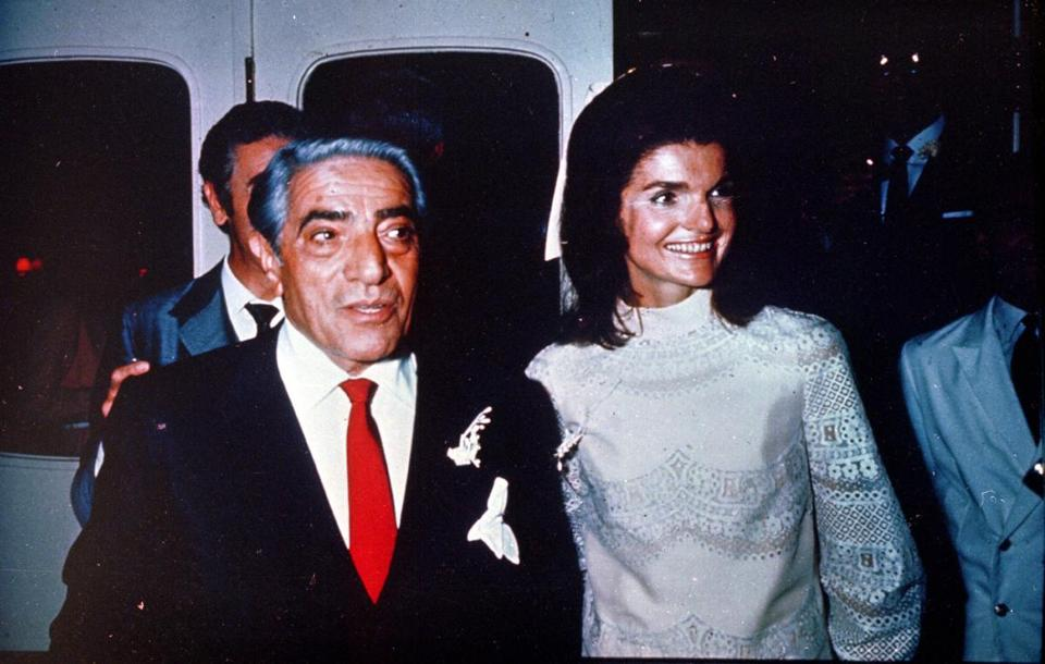 "Aristotle and Jackie Onassis on their wedding day in 1968. ""I can't very well marry a dentist from New Jersey!"" the former first lady told Truman Capote."