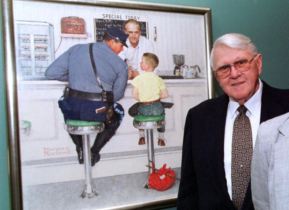 Richard Clemens with ''The Runaway'' at the Norman Rockwell Museum in 2001. He was Rockwell's neighbor when he posed.