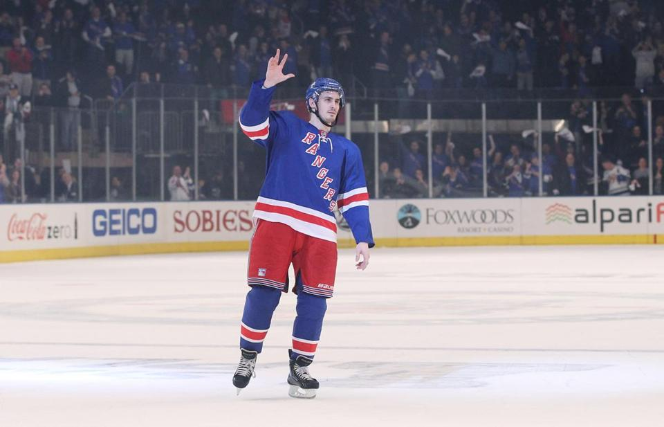 Chris Kreider won kudos from Rangers fans after helping spark the team to its playoff success this year. Early last month, the Boxford native was still playing for Boston College.