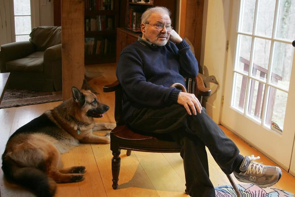 Maurice Sendak at his Ridgefield, Conn., home with his German shepherd, Herman.
