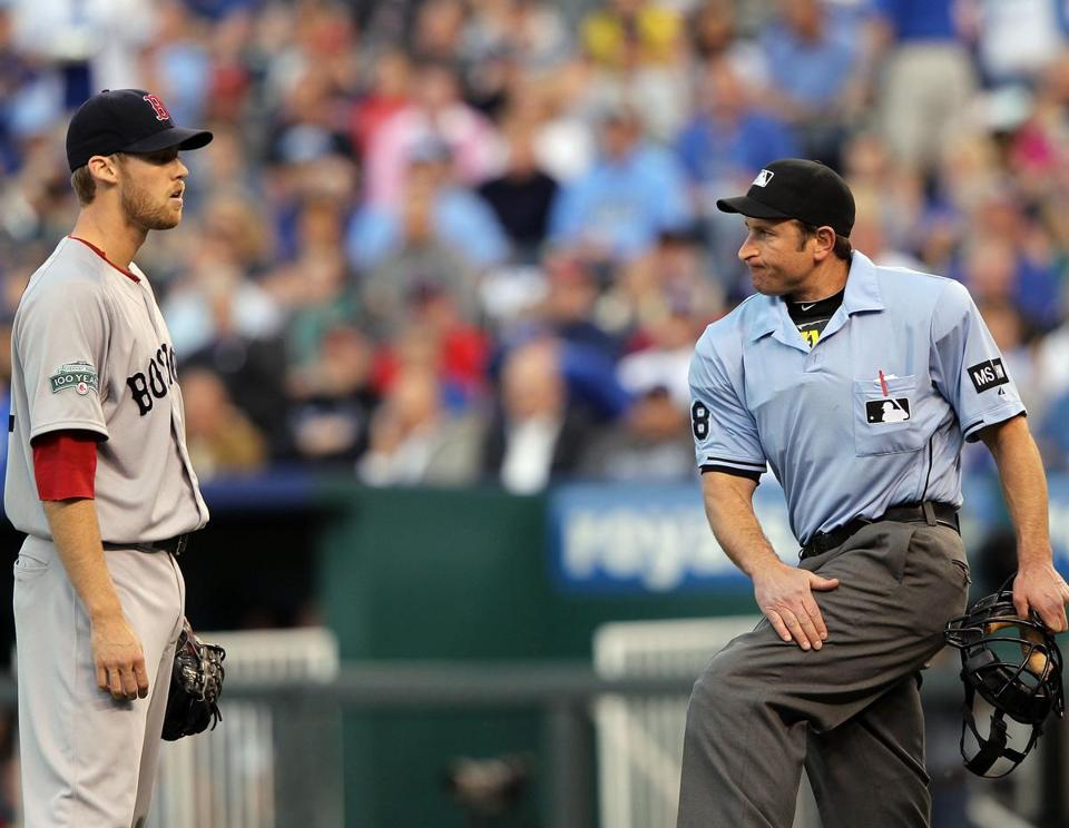 Starter Daniel Bard was called for the first of two balks by home plate umpire Chris Guccione during the second inning.