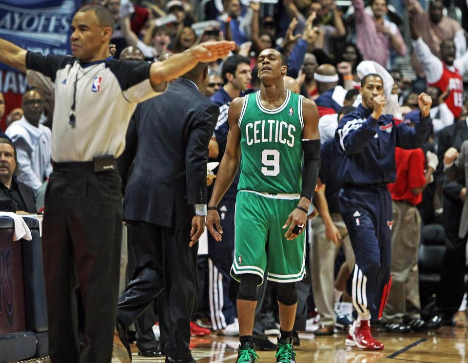 Rajon Rondo (13 points, 6-of-17 shooting) ran out of time after stealing the ball in the final seconds, dribbling into a crowd, then failing to get off a shot or a pass as the Celtics lost Game 5.