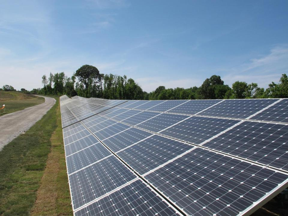 Panels containing solar cells make up the new West Tennessee Solar Farm in Stanton, Tenn. (Adrian Sainz photot/AP)