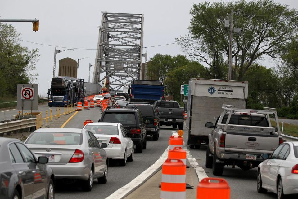 Work to fix the 1930s Sagamore Bridge has caused delays for drivers like these trying to get off the Cape on Tuesday.