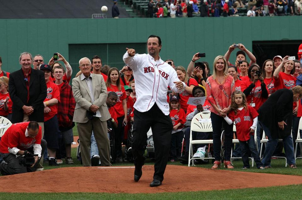 Former Red Sox pitcher Tim Wakefield threw out the first pitch before the game against the Seattle Mariners at Fenway Park on Tuesday.