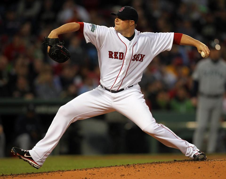 Jon Lester threw a complete game against the Mariners as the Red Sox won their fourth in a row.