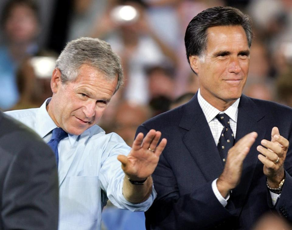 In 2004, George W. Bush appeared with Mitt Romney at an event in Nashua. This year Romney is trying to distance himself from the Bush policies.