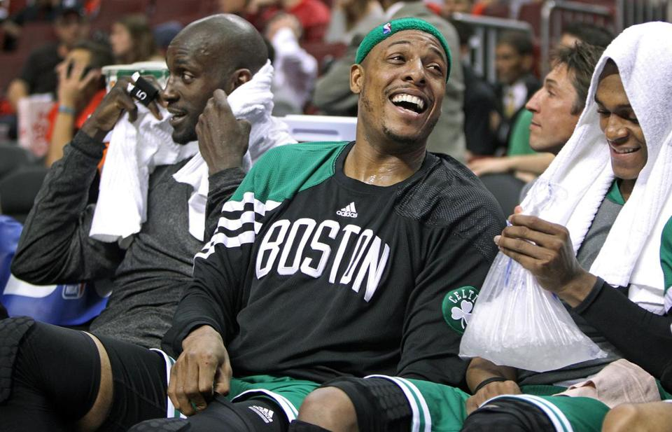 Kevin Garnett, Paul Pierce and Rajon Rondo, left to right, are now in their fifth season together in Boston.