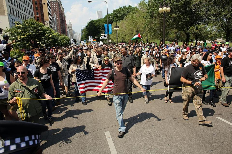 Protesters marched on a Chicago street Sunday.