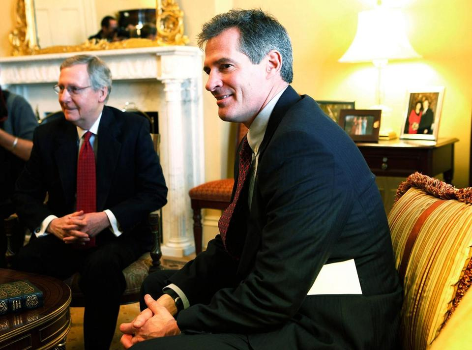 Senator Scott Brown is shown meeting with Senate minority leader Mitch McConnell. But Brown is also known for reaching across the aisle.