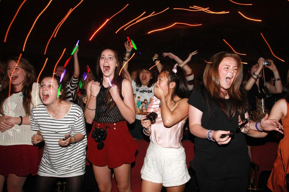 Fans watched One Direction perform live on stage in Wellington, New Zealand, in April.