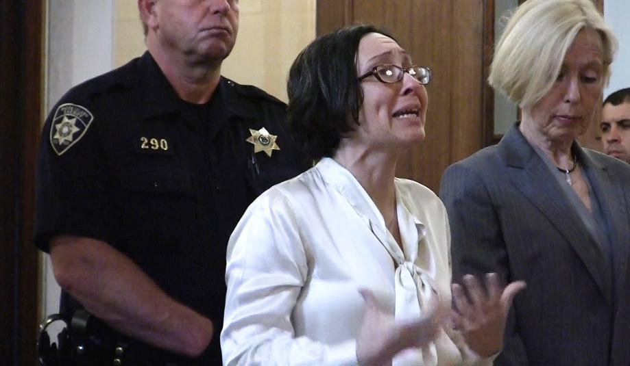 Kimberly Fry spoke to the court before she was sentenced by Superior Court Judge William E. Carnes Jr. on Tuesday in Providence.