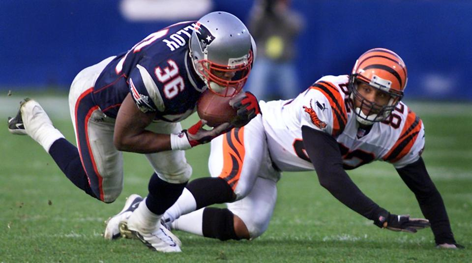 Lawyer Milloy, who was at the center of the Patriots midweek fight controversy, stepped in front of Bengals tight end Tony McGee for this interception that set up a field goal that tied the game.