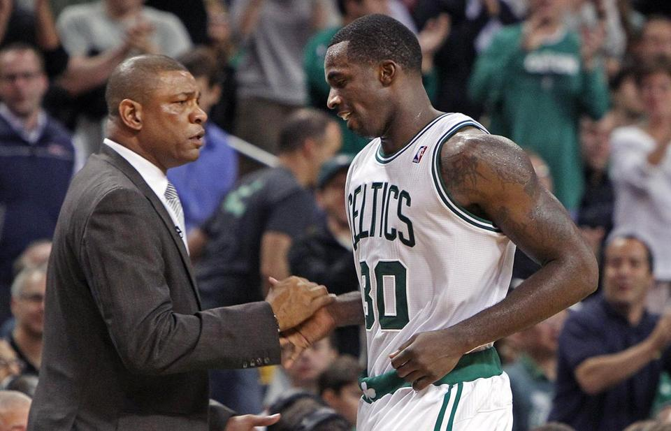 Doc Rivers congratulated Brandon Bass after he left the game late in the fourth quarter.