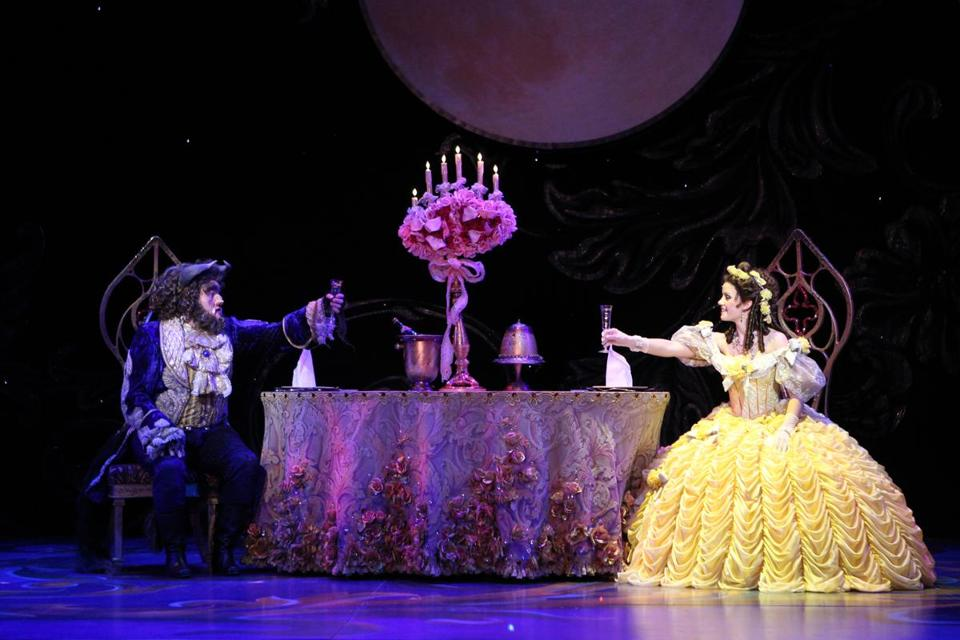 "Dane Agostinis as the Beast and Emily Behny as Belle in ""Beauty and the Beast.''"