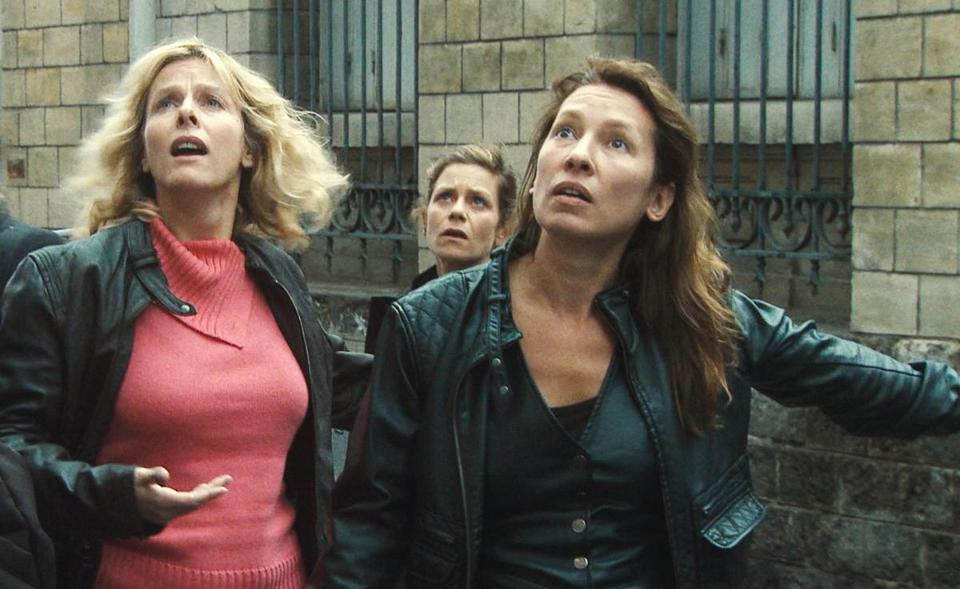 "From left: Karin Viard, Marina Fois, and Emmanuelle Bercot in ""Polisse."""