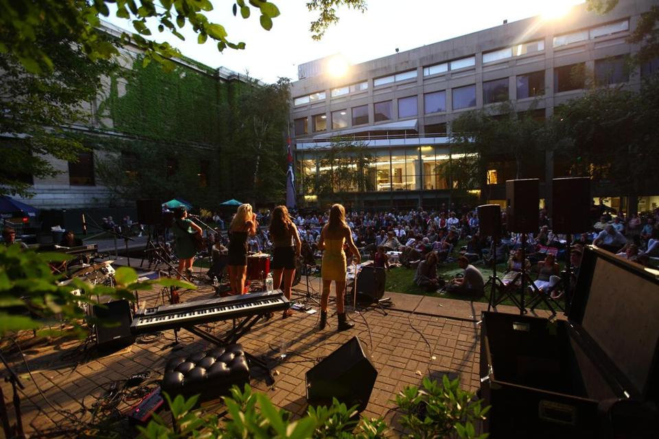 The MFA's outdoor concert series (which last year featured the Parkington Sisters, above) will return this year with a wide range of musical styles in the lovely setting of the Calderwood Courtyard.
