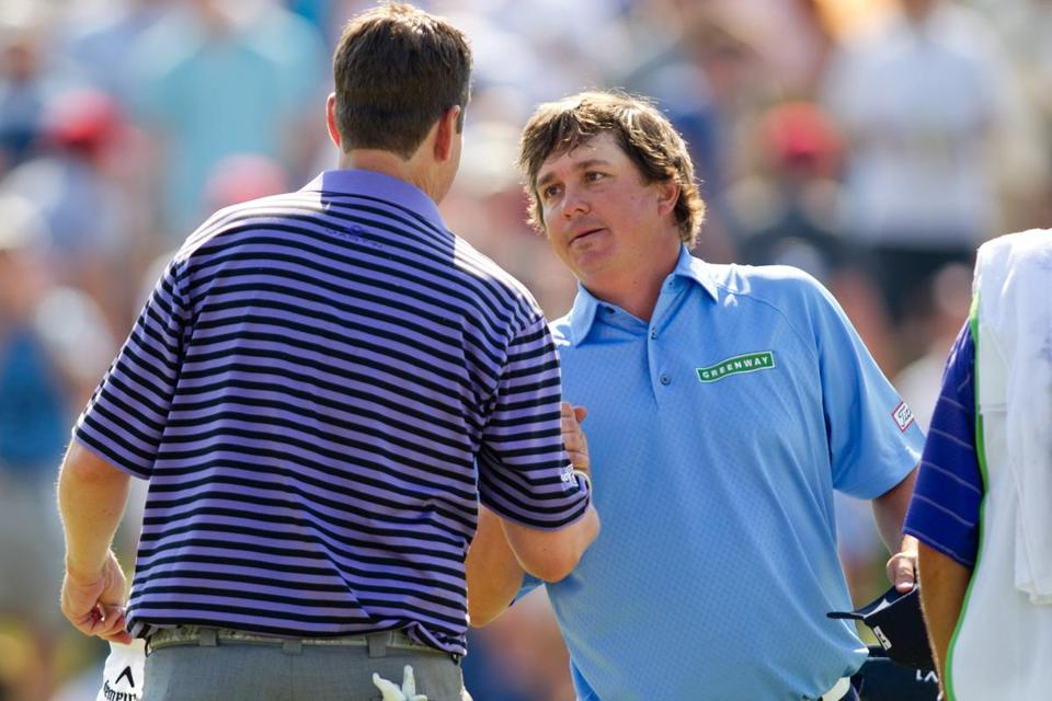 Jason Dufner, right, won the HP Byron Nelson Championship on Sunday.