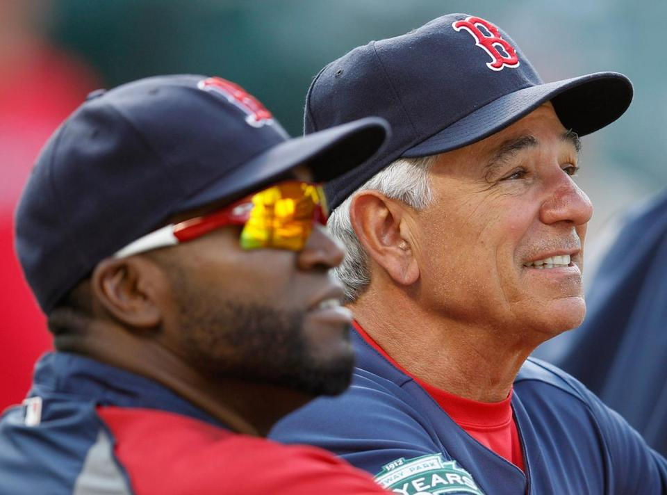 David Ortiz, left, with Bobby Valentine, is signed only through this season.