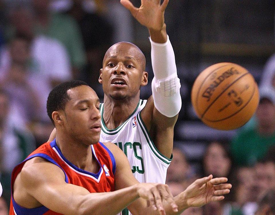 Ray Allen, a defensive liability at times because of his ankle, had difficulty guarding Evan Turner in the first half.