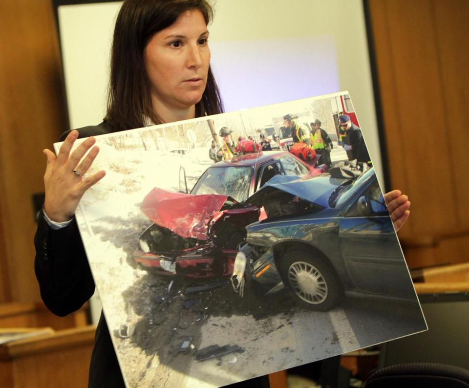 Prosecutor Ashlee Logan showed an accident scene photo last month in the trial of Aaron Deveau, who was found guilty last week in a fatal case of texting while driving.