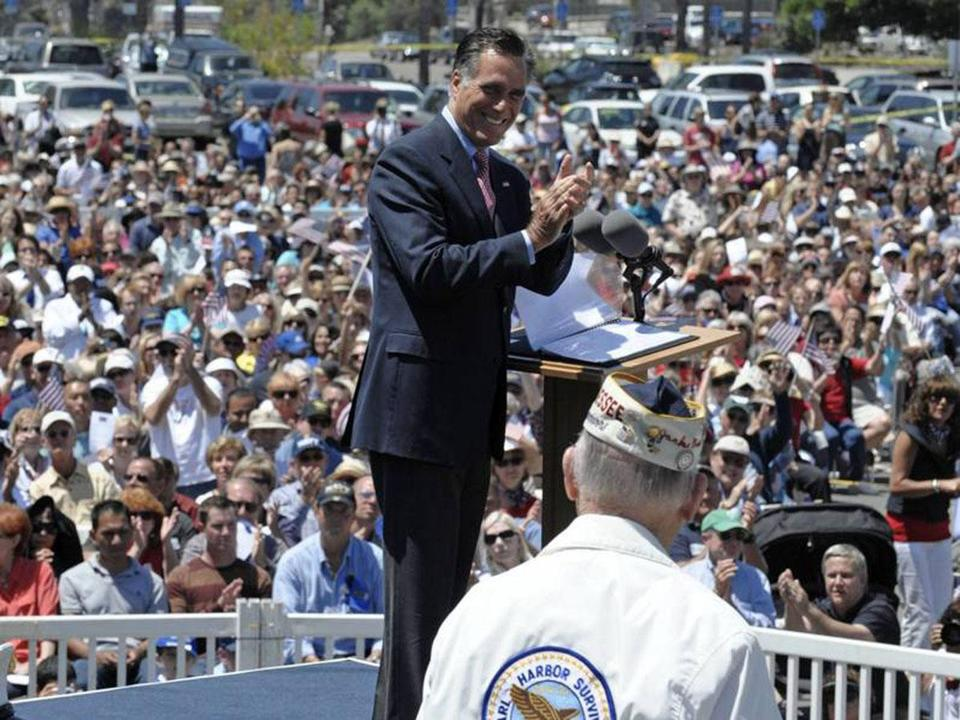 Mitt Romney spoke Monday before a crowd of 5,000 at a ceremony at the Veterans Museum & Memorial Center in San Diego.