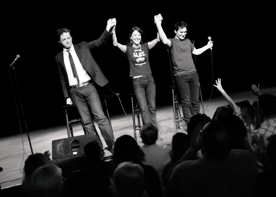 "From left: John Fugelsang, Stephanie Miller and Hal Sparks during their ""Sexy Liberal Comedy Tour."""