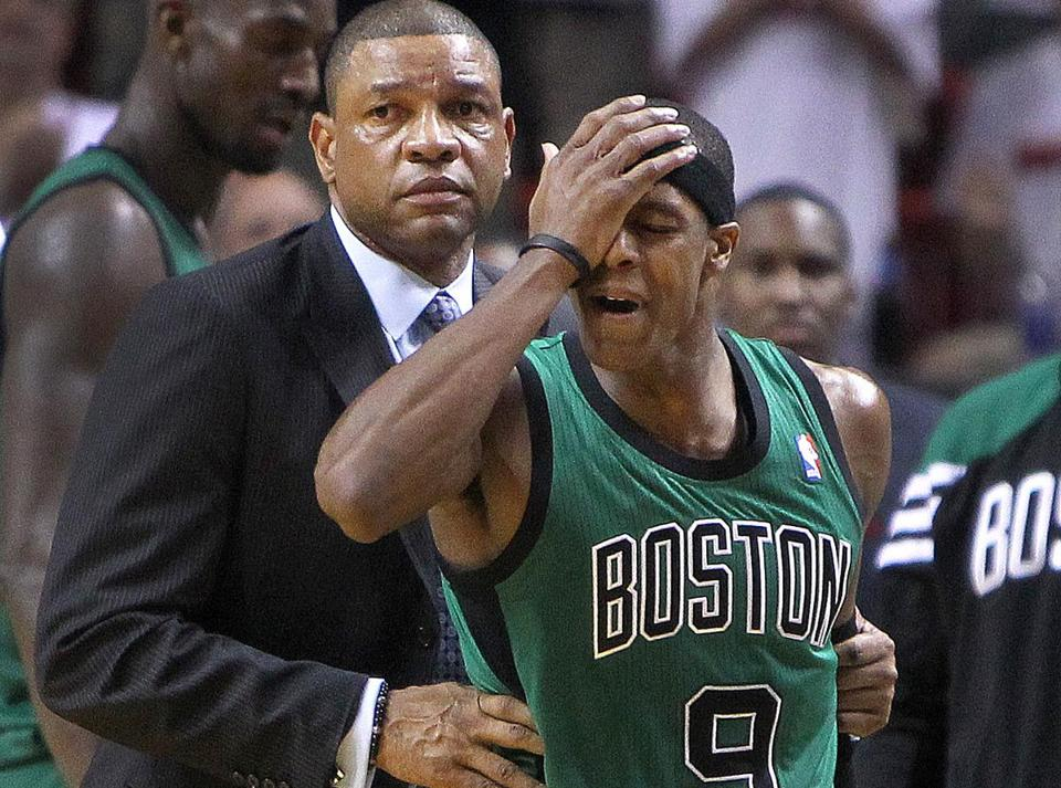 Doc Rivers had Rajon Rondo's back on this non-call in OT, in which Rondo scored all 12 Celtics' points.