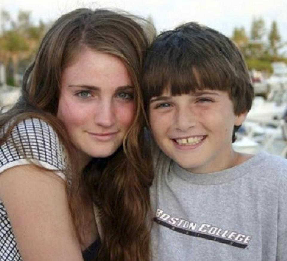 Photo released by the Keegan family shows Marina Keegan and her brother, Pierce, of Wayland.