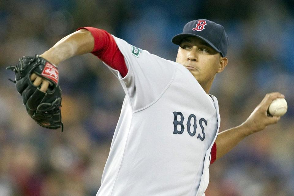 Felix Doubront pitched into the seventh inning Saturday as the Red Sox beat the Toronto Blue Jays, 7-4.
